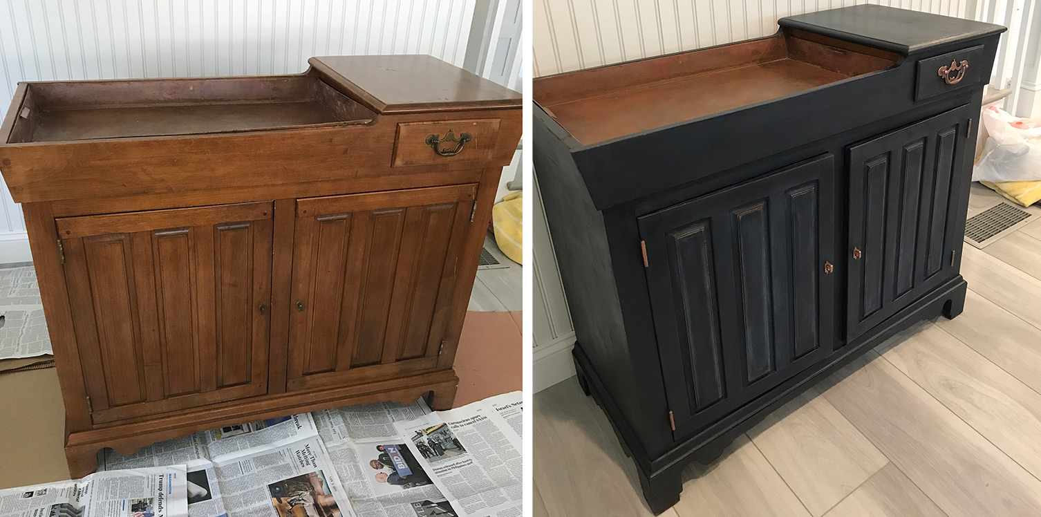medium brown dry sink bar cabinet painted dark blue/black before and after comparison