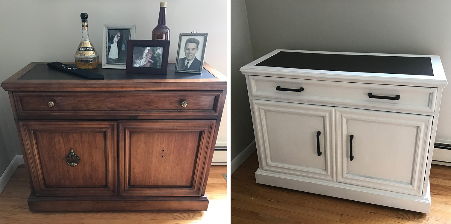 Medium brown bar cart painted pure white before and after comparison