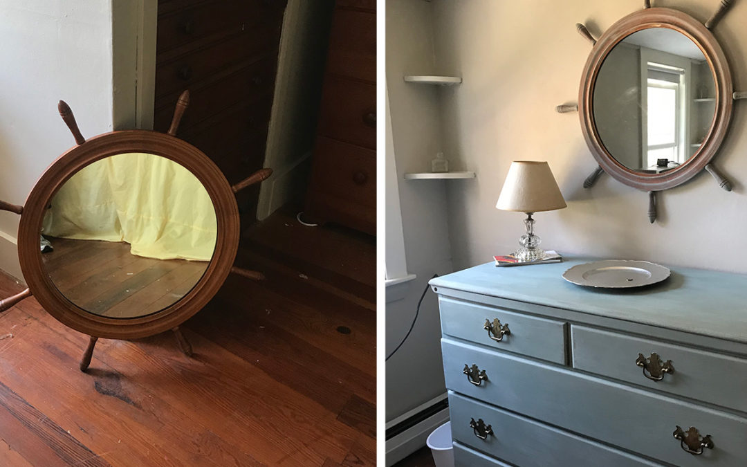 Coastal bedroom before and after with nautical wheel mirror