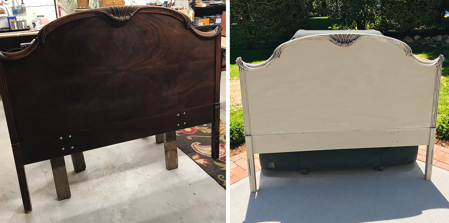 cherry headboard painted a warm white before and after