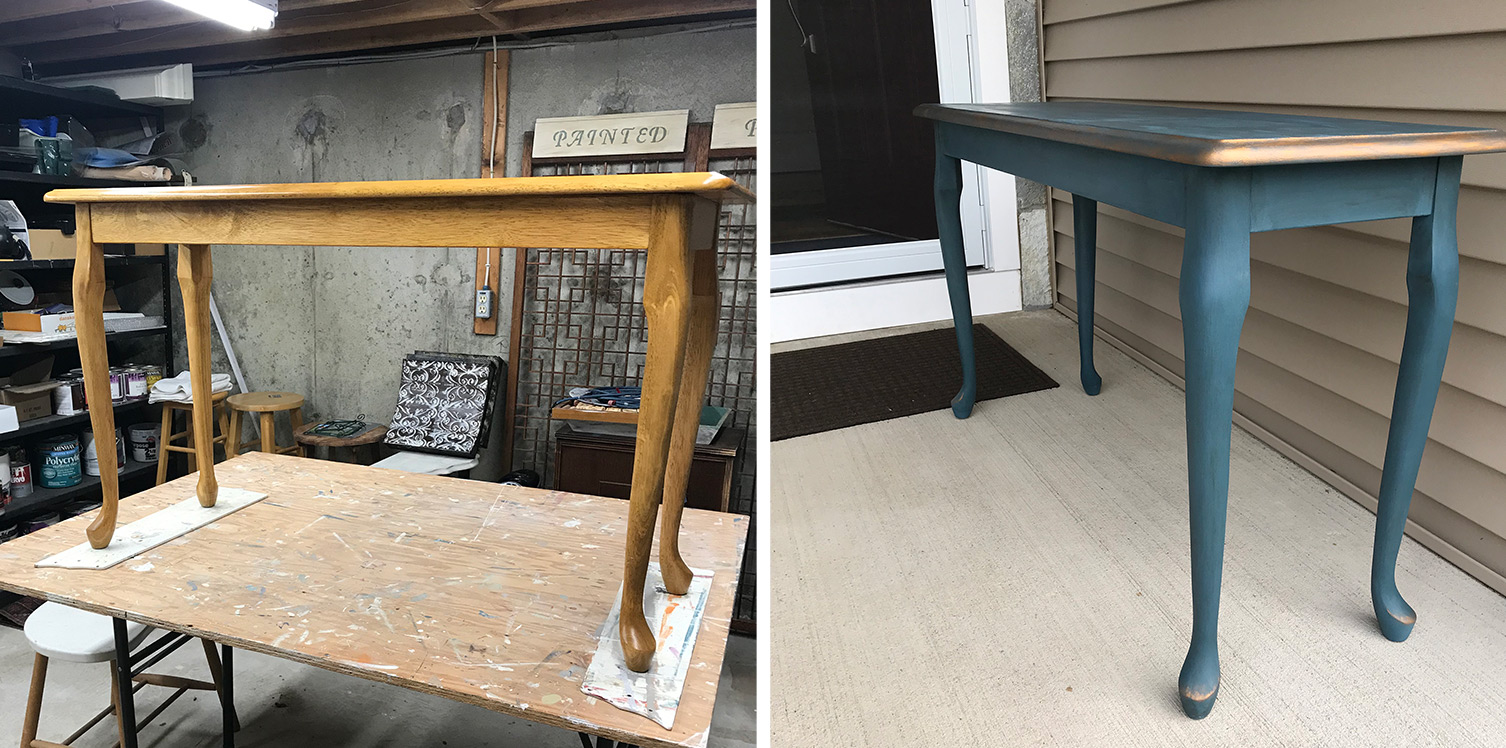 light oak sofa table painted blue and warm metallic before and after comparison