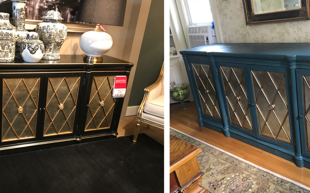 black Ethan Allen buffet painted blue-green before and after comparison