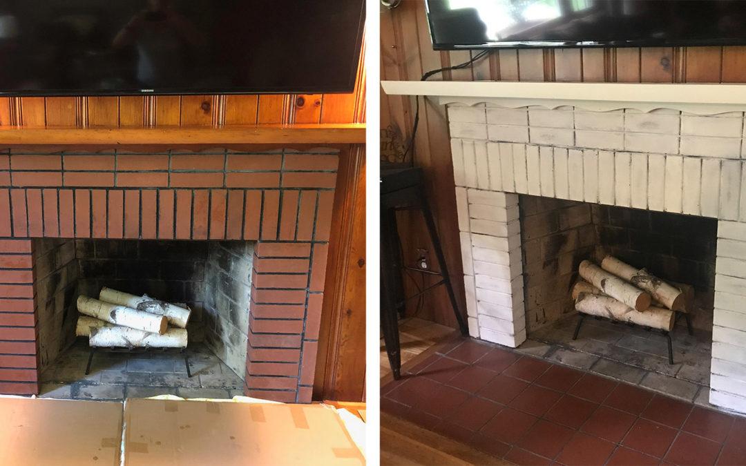 Summer Project: Brick Fireplace & Mantel